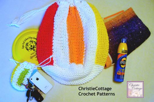 Crochet Pattern, PDF Beach Ball Bag, Beach Bag with Pouch,