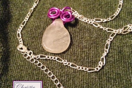 Purple Wire Wrapped Seaglass Pendant