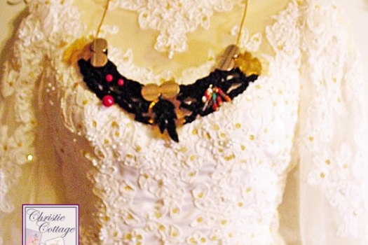 Boho necklace, gold, black