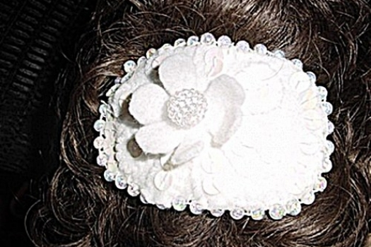 Bridal Fascinator - Head Piece - White - Beaded - Sequins