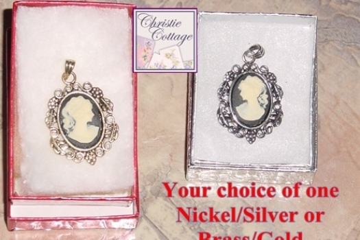 Cameo Pendant Your Choice of Silver or Gold Metal