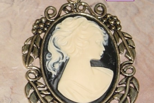 Black and Ivory Cameo Pendant