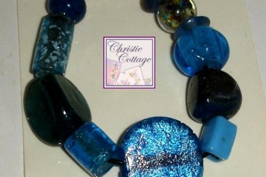Chunky Blue Bracelet, Teal, Aqua, Turquoise, Navy