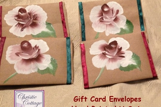 Hand Painted Gift Card/Cash holders. Set of 2. Handmade
