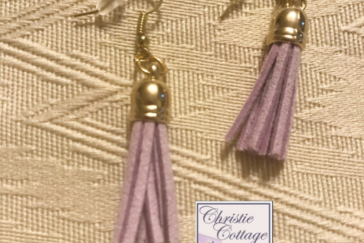 Dangle tassel earrings, gold and lavender Free shipping USA