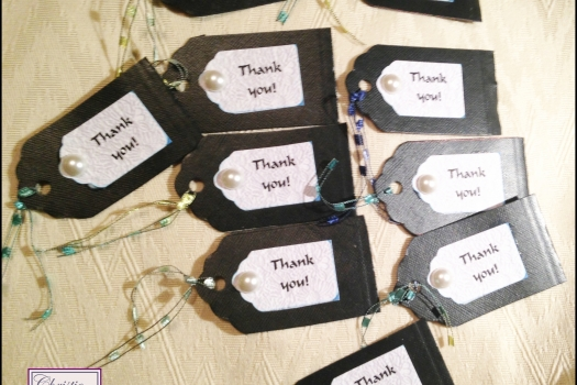 Pearl Thank You Tags,  Hang Tags, Set of 10. P168