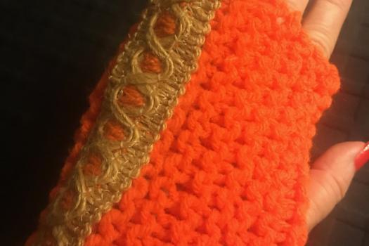 Fingerless gloves, long, orange