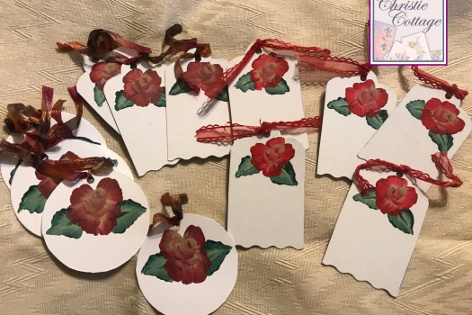 Hang Tags , Hand painted rose