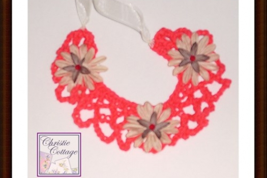 Red Bohemian Necklace, Crocheted, Boho Necklace