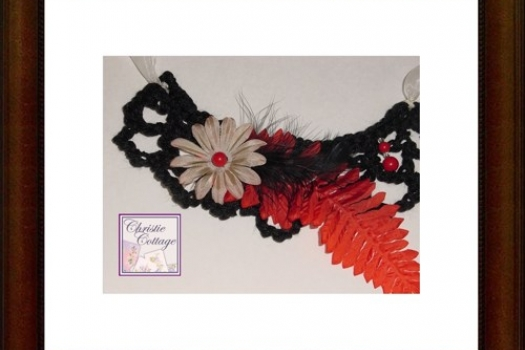 Boho Necklace - Bohemian - Black - Feather - Red Fern - Flower - Beads