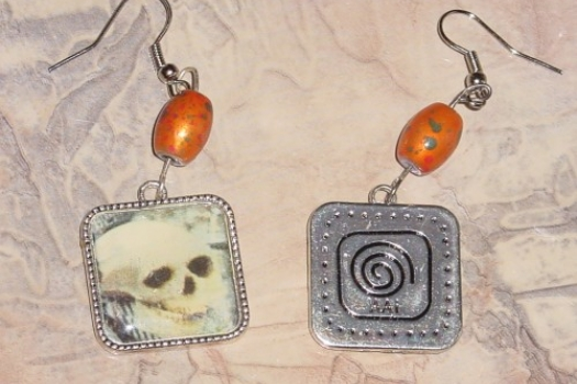 Skull Earrings Dangles with Beads Pierced Day of the Dead
