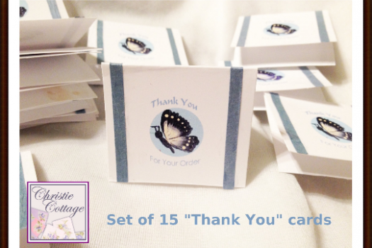 mini thank you cards set of 15 butterfly and ribbon christie cottage