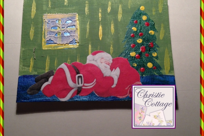 Santa Sleeping, ACEO, Mixed Media Original, Christmas Decor
