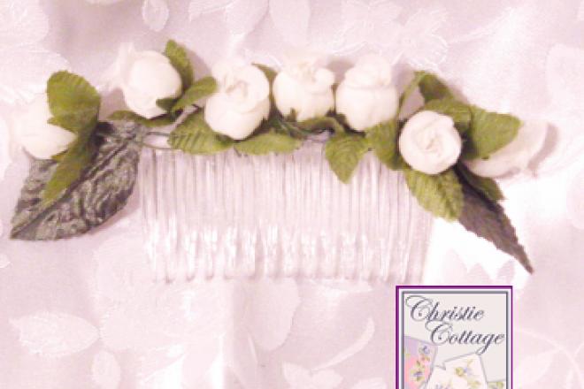 Wedding - Bridal Comb - Fascinator - Veil Comb - White Roses