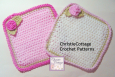 Washcloth with rose, Crochet Pattern, PDF