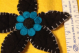 Daisy Applique, Handmade in America, Turquoise, Black