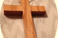 Handmade Wooden Cross Leather Cord