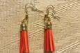 Peach/orange, dangle earrings, tassels, USA, gold ear wires