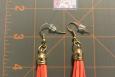 Peach/orange, dangle earrings, tassels, USA, gold earwires
