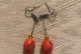 Hot dangle earrings. Orange and red, Pewter, Free US shi