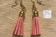 lightweight Pink tassel, dangles earrings, Gold wires, Free US shipping