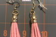 petite Pink tassel, dangles earrings, Gold wires, Free US shipping