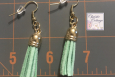 Dangles, Aqua, tassel earrings, gold wires, Free shipping, USA