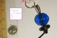 Blue Sphere Keyring, Glass Beads, OOAK