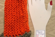 Orange and grey hand knit fingerless gloves