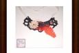 Boho necklace, black, red fern