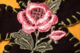 Lovely Daisy and Rose Applique, Black, Sage and Pink, Made in America