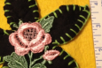 Lovely Daisy and Rose Applique, Black, Sage and Pink