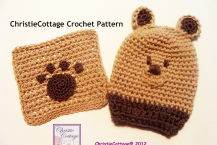 Bear - Washcloth and Bathmitt Set - Crochet Pattern PDF 007