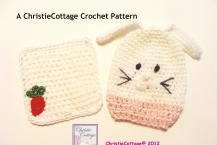 Bunny Rabbit Washcloth and Bath Mitt Set Crochet Pattern PDF 010