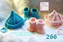 Fisherman Pixie Hat and Booties Crochet Pattern #266