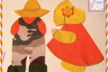 Sunbonnet Sue and Overalls Sam, Set, Appliques, Handmade