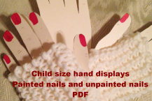 Child size hand displays for fingerless gloves, PDF