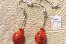 Summer Dangle earrings, Orange and red, USA, Free shipping