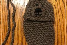 Crocheted Bear Cell Phone Pouch Purse