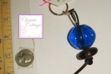 Blue Sphere Keyring, Glass Beads, OOAK