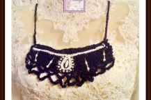 Crocheted Boho necklace, navy blue, handmade