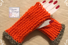 Ready to ship Orange and Grey Fingerless Gloves, Free Shipping, USA