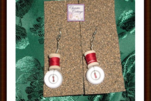 Earrings - Miniature Spools - Buttons - Pierced - Dangles - Red