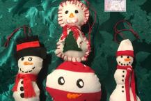 Christmas Ornaments, Handmade, Snowman, Set 4, Free Shipping